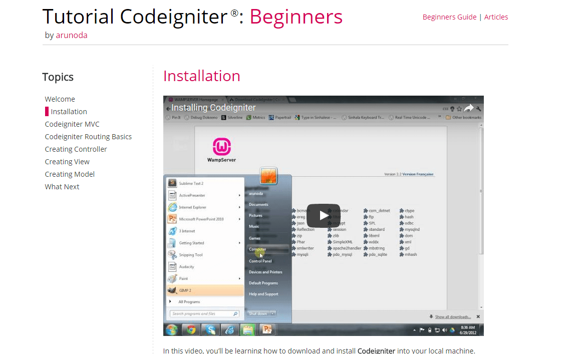 CodeIgniter Video Tutorial for Beginners