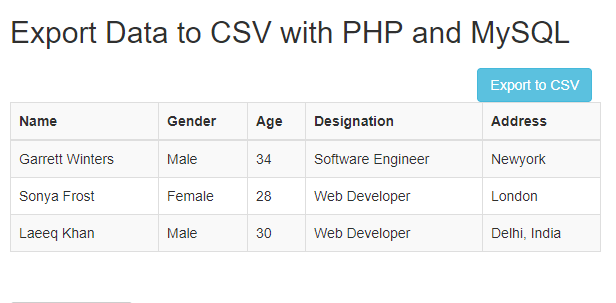 php create csv