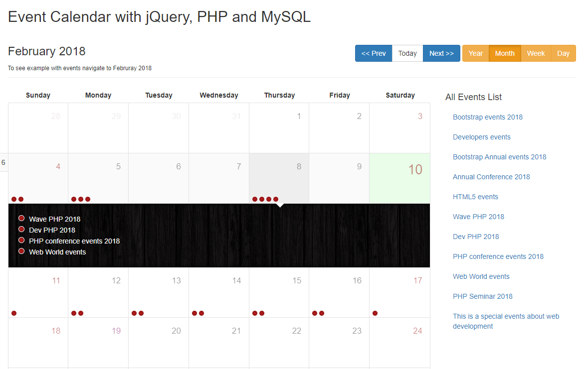create event calendar with jquery php and mysql