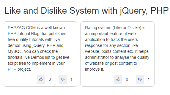 Like and Dislike System with jQuery, PHP and MySQL – PHPZAG COM