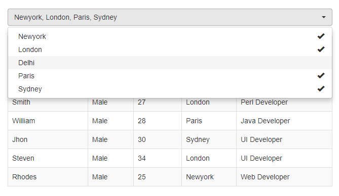 Live Data Search with Multiselect Dropdown using Ajax, PHP & MySQL